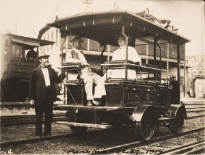 Left to right: John C. Trautwine Jr., A.B. Nichols, and Mrs. Trautwine, in Panama, February 27, 1915. Nichols' friend John Trautwine Jr. was a civil engineer and the son of John Cresson Trautwine, the engineer who surveyed the route for the construction of the Panama Railroad in the 1850s.